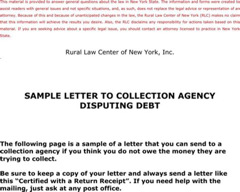 Dispute Letter To A Collection Agency Sle sle collection letter for free formtemplate