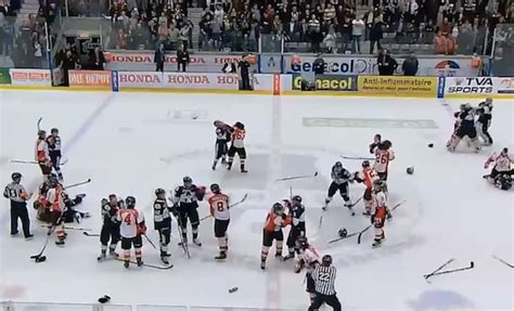 hockey bench clearing brawls video bench clearing brawl dailyxy guy stuff