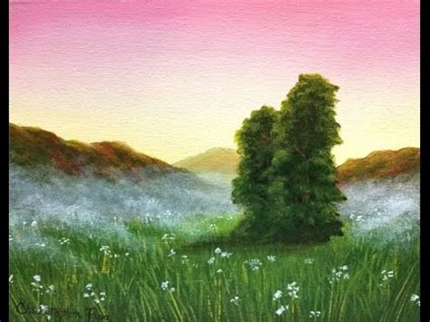 acrylic painting tutorial landscapes acrylic painting tutorial meadow sunset