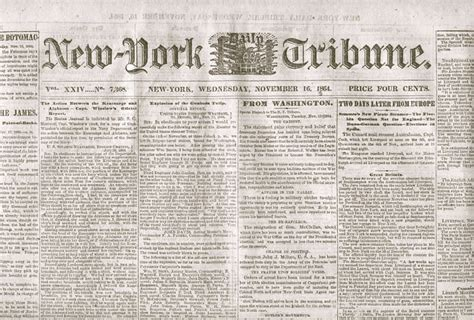 Newspaper The Institute Comm455 History Of Journalism Horace Greeley The New York Tribune Comm455 History Of Journalism