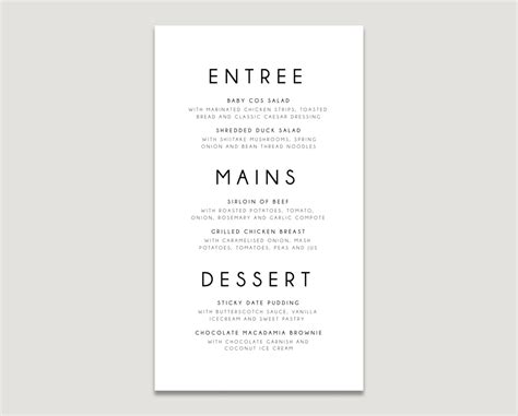 menu card template word modern clean 17 minimalist menu designs design trends premium psd