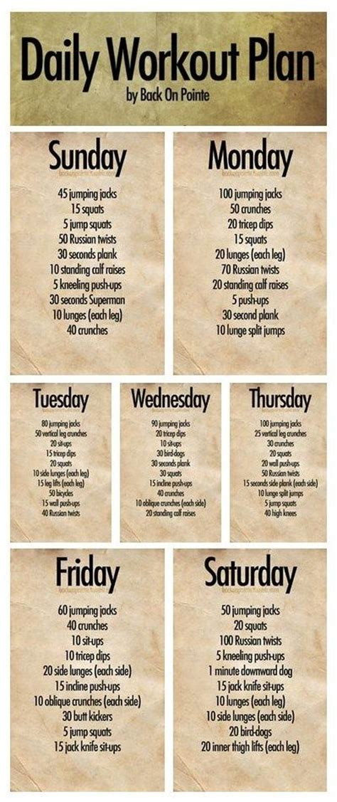 daily workout plan 7 days of routines let s workout