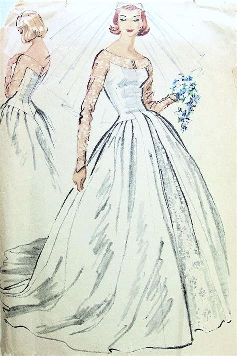 pattern drafting wedding gown 1950s dreamy wedding gown bridal dress pattern mccalls