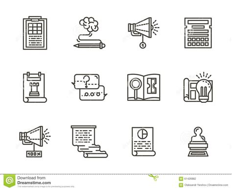 organized layout of elements smm flat line icons collection stock illustration image