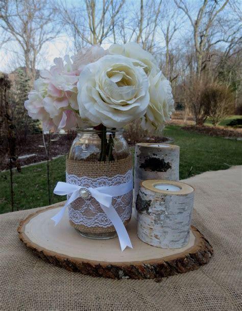 Layout: tree stump base, mason jars and birch candles   5