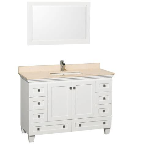 single bathroom vanity white 48 quot acclaim single bath vanity white bathgems com