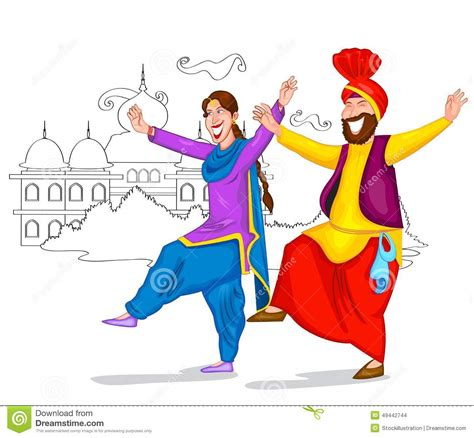 Dancing Punjabi couple stock vector. Image of baisakhi