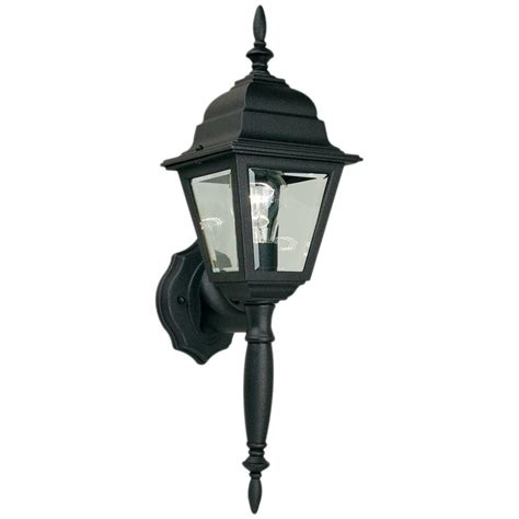 hampton bay  light black outdoor wall lamp hbp