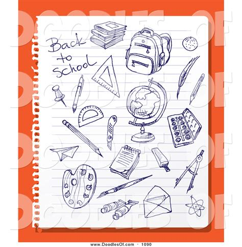 doodle orang vector clipart of doodled blue ink sketches on ruled paper