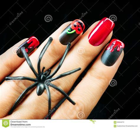 halloween nail art design black matte polish stock photo