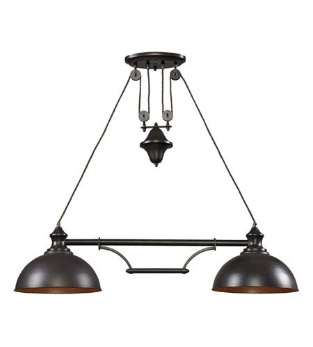 Farmhouse Island Lighting Elk Lighting Farmhouse 2 Light Billiard Island In Bronze 65150 2