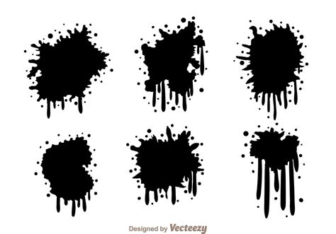 spray paint drips black spraypaint drip free vector stock