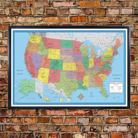 classic elite united states usa us wall map poster