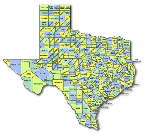 texas state map with counties texas state counties map