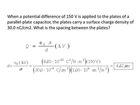 what is the charge on a parallel plate capacitor when a potential difference of 150 v is applied to the plates of a parallel plate capacitor the