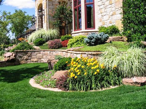 front house landscape design ideas front side landscaping modern house design with stone raised garden flower and