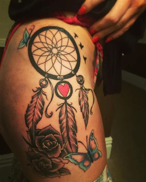 dreamcatcher tattoo designs on the thigh for s