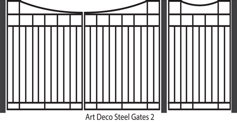 art deco steel pedestrian and driveway gates design