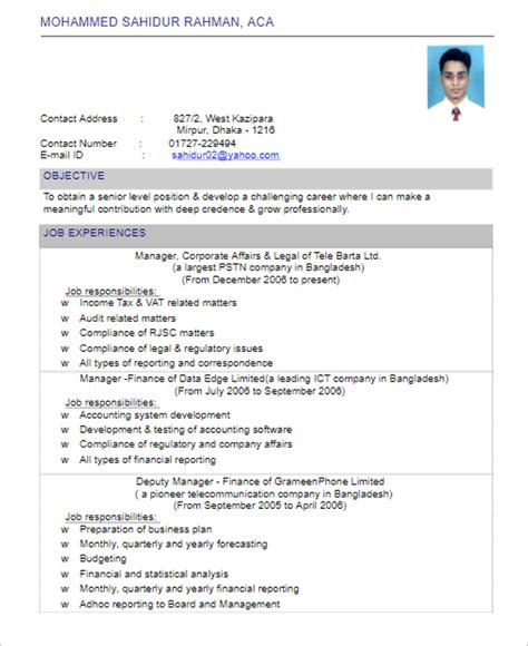 Resume Cover Letter Sles For Accounting cover letter for resume chartered accountant 28 images