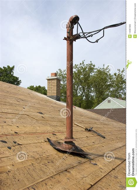 electric wire from pole to house home electrical entry pole electricity wires house stock image image 14387305