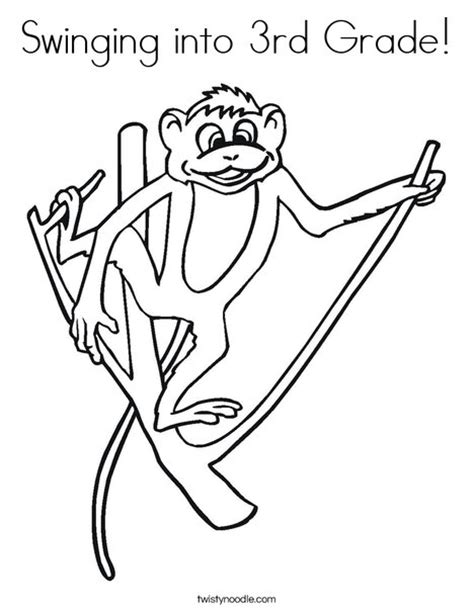 Swinging Into 3rd Grade Coloring Page Twisty Noodle 3rd Grade Coloring Pages