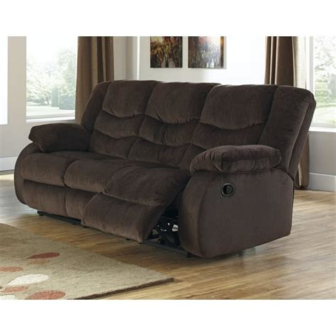 fabric reclining sofas and loveseats ashley garek fabric reclining sofa in cocoa 9200388