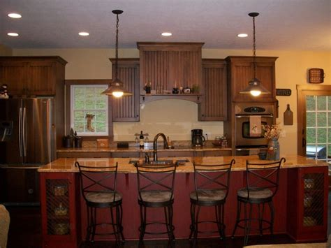 Primitive Island Lighting Imposing Primitive Country Kitchen Islands With Undermount Rectangular Kitchen Sinks