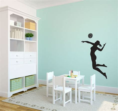 volleyball player spiking silhouette sports wall decal