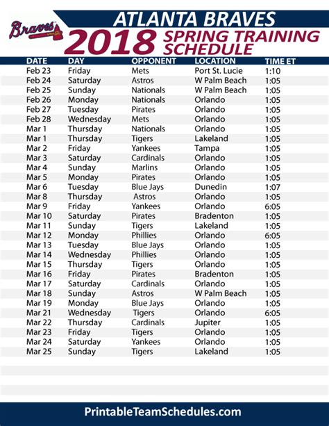 printable schedule for atlanta braves printable atlanta braves spring training schedule 2018