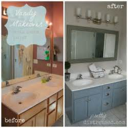 Bathroom Vanity Makeover Ideas by Pretty Distressed Bathroom Vanity Makeover With Latex Paint
