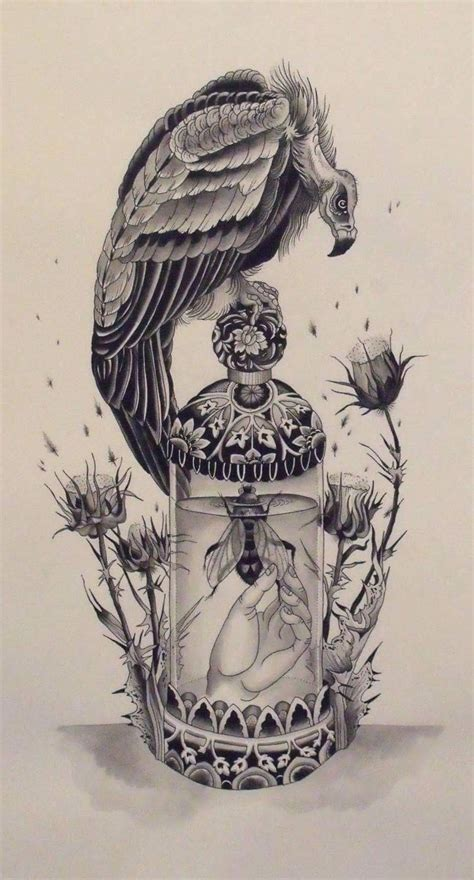 buzzard tattoo designs vulture bee thistle vulture