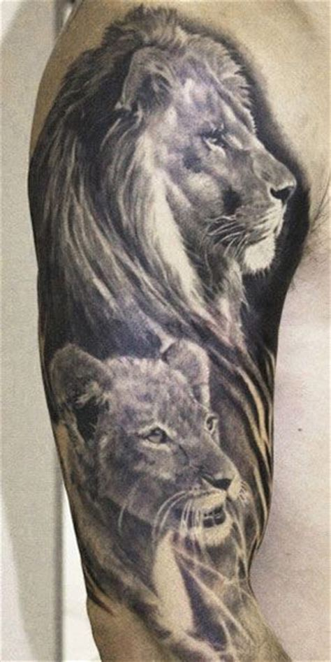 black and grey lion tattoo beautiful black and grey lion family tattoo by aron szabo