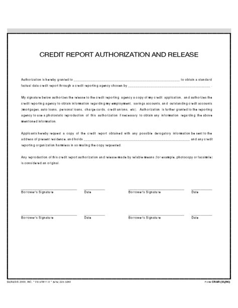 Release Cheque Letter credit report and authorization release free