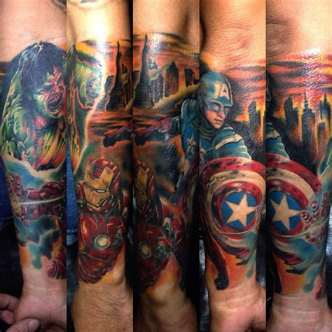 avengers tattoo sleeve done by anthraxxmike