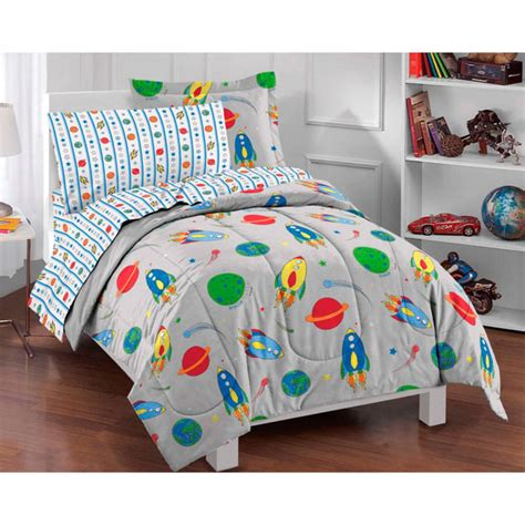 rocket ship twin bed in bag 5pc outer space comforter