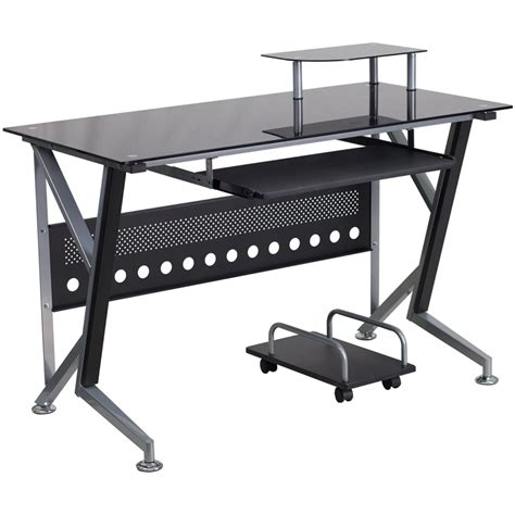 black glass computer desk with pull out keyboard tray and