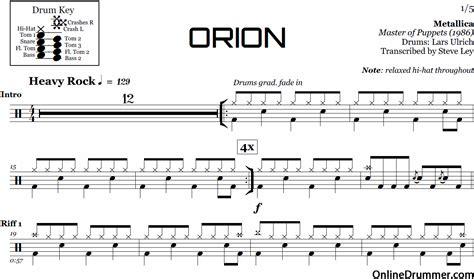 metallica xylophone orion metallica drum sheet music onlinedrummer