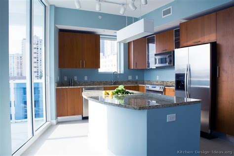 blue walls in kitchen pictures of kitchens modern medium wood kitchen