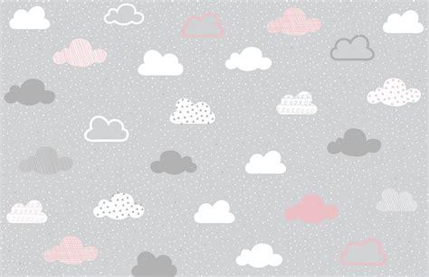 pink  grey clouds pattern wall mural murals wallpaper