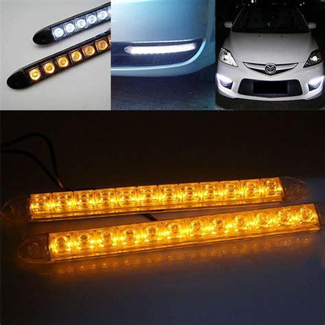 led automotive light strips 2x 12 led light bar auto drl lens led lights