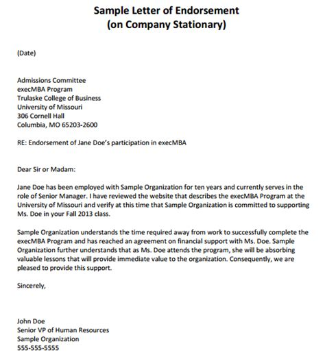 Endorsement Letter Of Employee 11 Sle Endorsement Letters Sle Letters Word