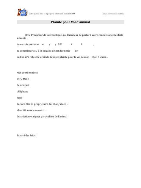 Modèle De Lettre Vol En Entreprise Sle Cover Letter Exemple De Lettre De Plainte Contre X