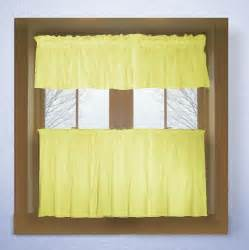 Kitchen Curtains Valance Light Yellow Color Tier Kitchen Curtain Two Panel Set