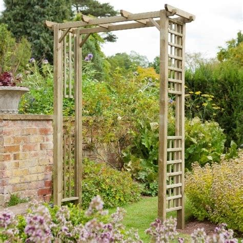 traditional square top wooden garden rose arch westmount