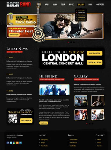 Rock Band V2 5 Joomla Theme Download Rock Band Web Template