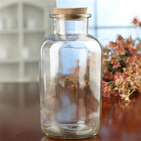 Decorative Glass Containers by Large Corked Clear Glass Jar Decorative Containers