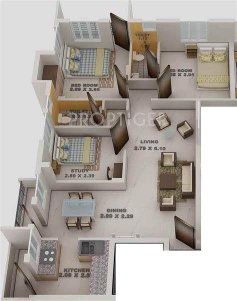 1000 Sq Ft 3 Bhk 3t Apartment For Sale In Blue Print 1096 Sq Ft 2 Bhk