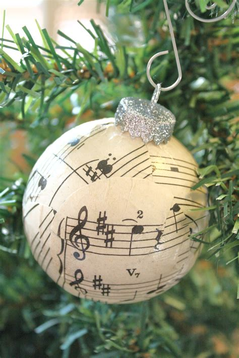 sheet music ball ornaments