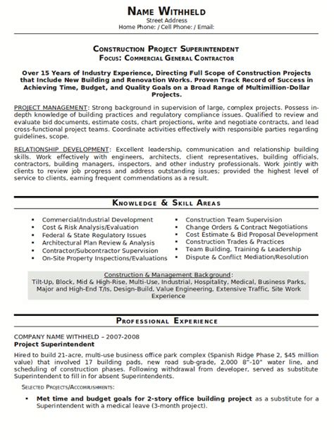 Construction Resume Exles by Resume Sle 23 Construction Superintendent Resume Career Resumes