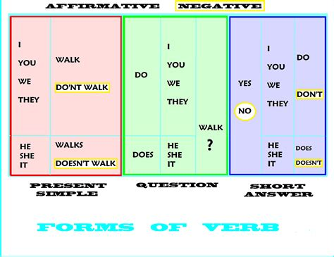 positive negative and interrogative forms of verb